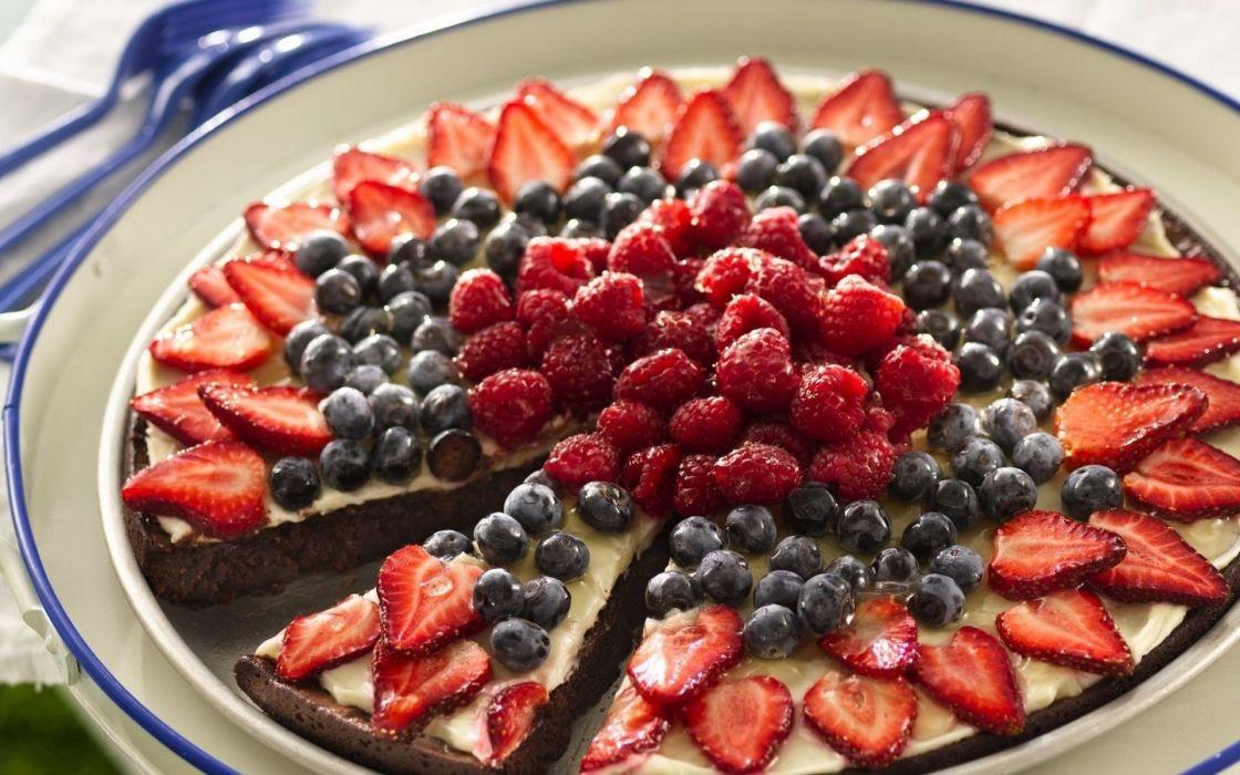 Photography Cake Dessert Strawberry Raspberry Tart Blueberry wallpaper