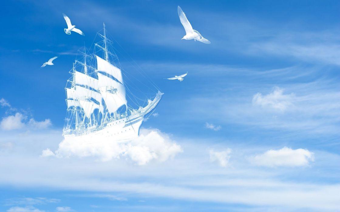 Fantasy Sky Bird Sea Ship wallpaper