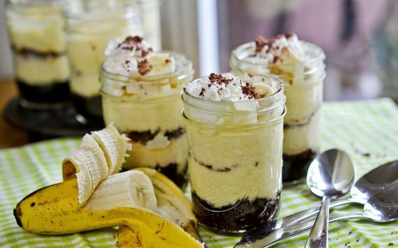 Glass Spoon Dessert Banana Cream wallpaper