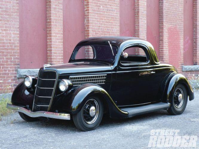 1935 Ford Coupe 3 Window Hotrod Hot Rod Custom Old School Black USA 1600x1200-03 wallpaper