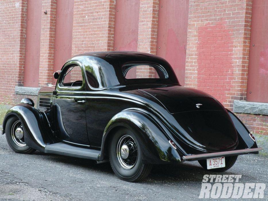 1935 Ford Coupe 3 Window Hotrod Hot Rod Custom Old School Black USA 1600x1200-04 wallpaper