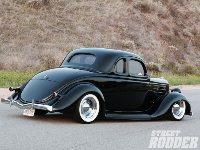 1935 Ford Coupe 5 Window Hotrod Hot Rod Custom Old School Black Low Sleed USA 1600x1200-04 wallpaper