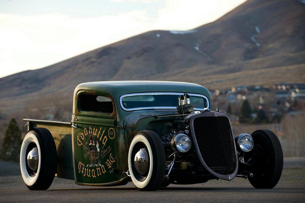 1935 Ford Pickup Ratrod Rat Hotrod Hot Rod Custom Old School Black ...