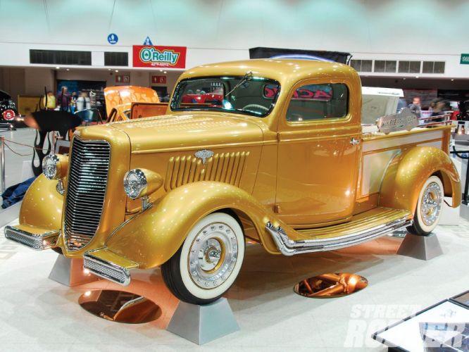 1935 Ford Pickup Hotrod Hot Rod Custom Old School Gold USA 1600x1200-01 wallpaper