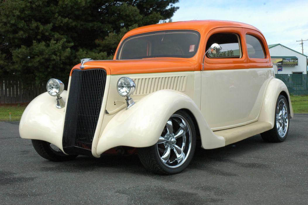 1935 Ford Sedan 2 Door Humpback Streetrod Hotrod Hot Rod Street Orange White USA 3000x2000-01 wallpaper