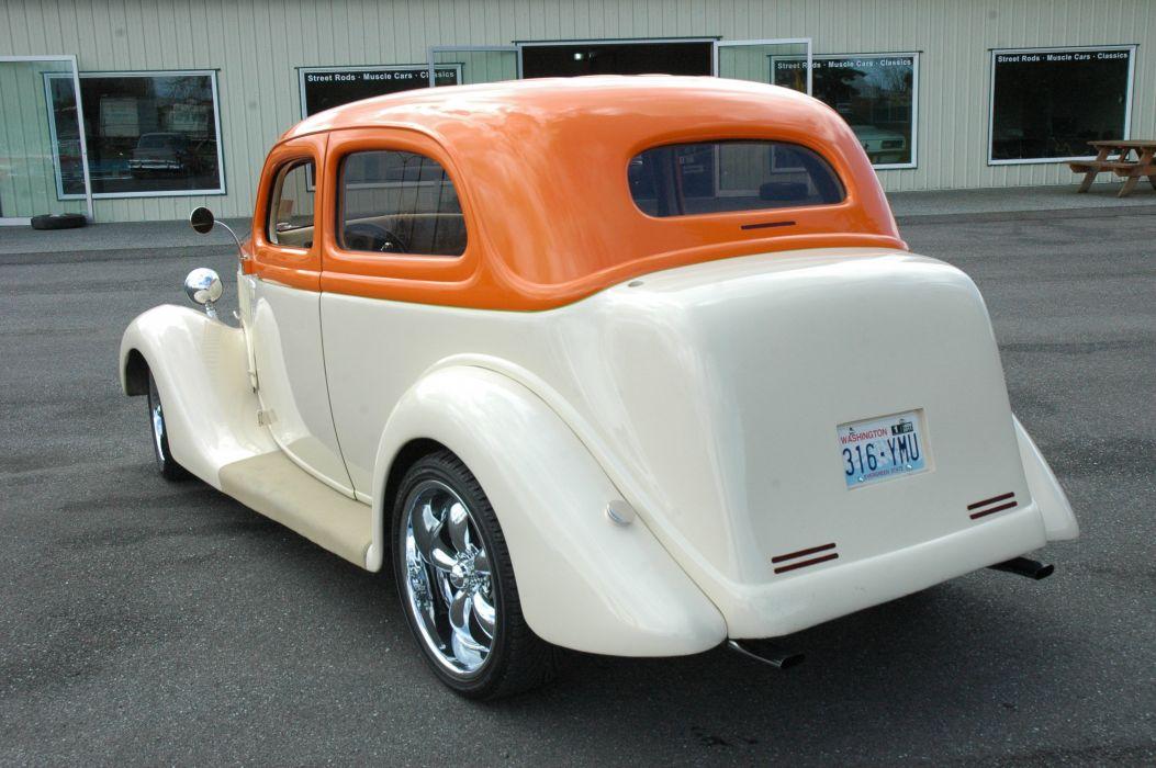 1935 Ford Sedan 2 Door Humpback Streetrod Hotrod Hot Rod Street Orange White USA 3000x2000-04 wallpaper