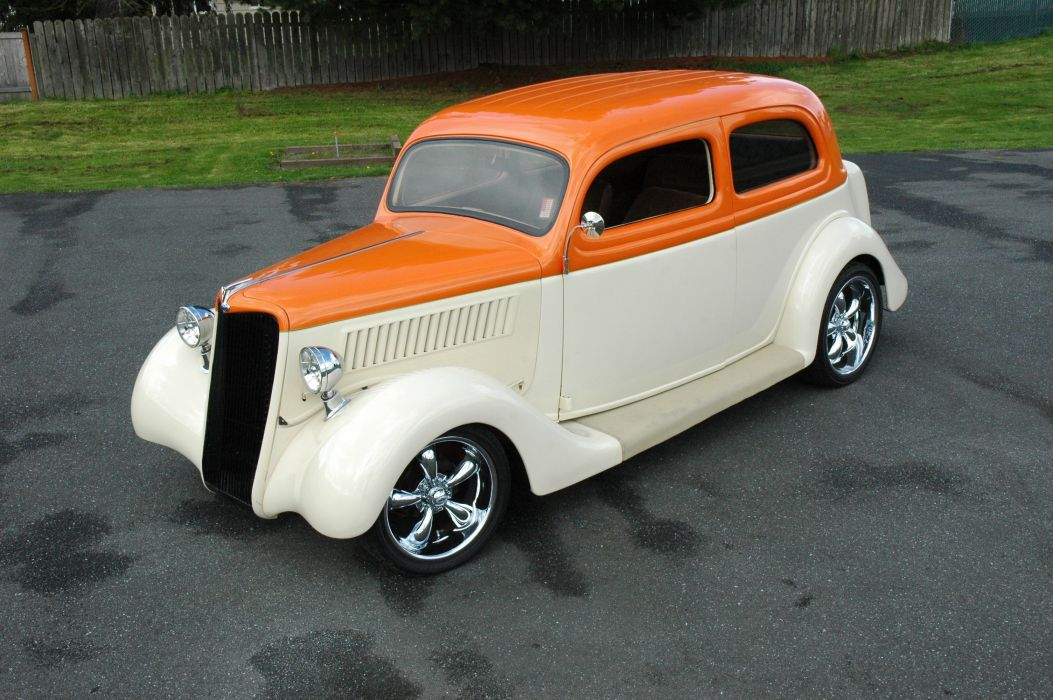 1935 Ford Sedan 2 Door Humpback Streetrod Hotrod Hot Rod Street Orange White USA 3000x2000-08 wallpaper