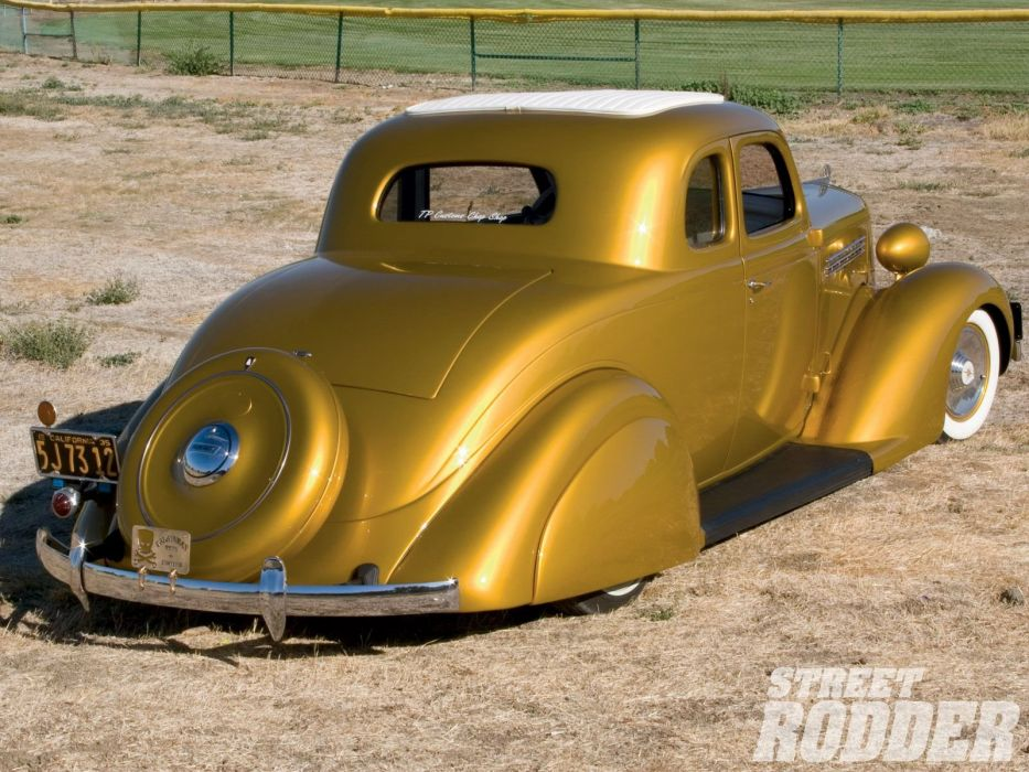 1935 Plymouth Coupe 5 Window Hotrod Hot Rod Custom Old School Yellow Low Sleed USA 1600x1200-02 wallpaper