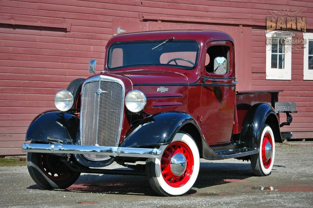 1936 Chevrolet Pickup Classic Old Retro Vintage Red Silver USA 1500x1000-09 wallpaper