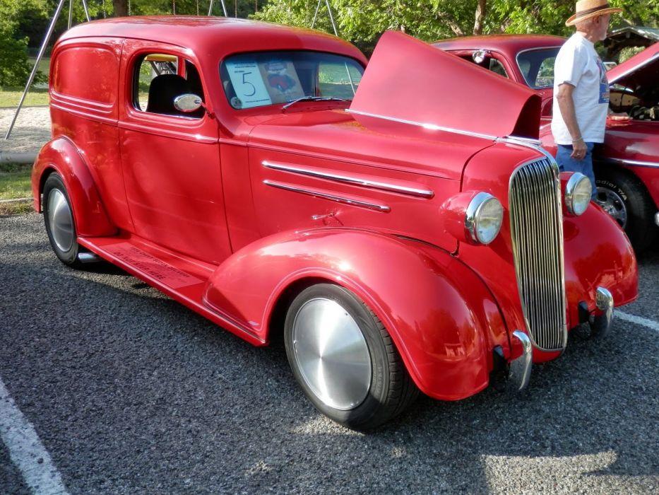 1936 Chevrolet Chevy Sedan Delivery Red Hotrod Hot Rod Custom Old School USA 1600x1200-01 wallpaper