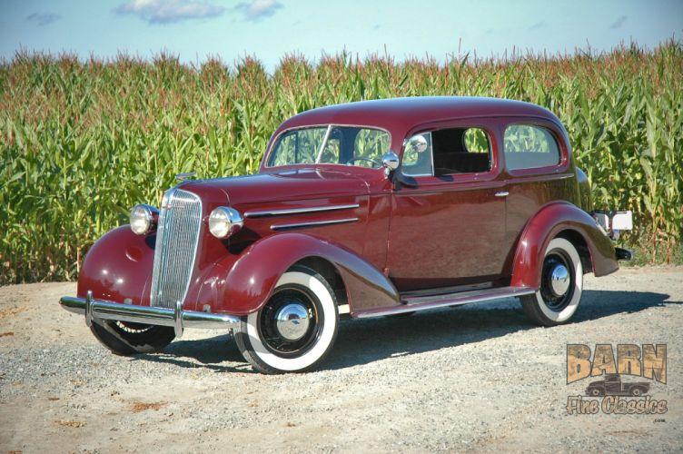 1936 Chevrolet Sedan 2 Door Classic Old Retro Vintage Blue USA 1500x1000-01 wallpaper