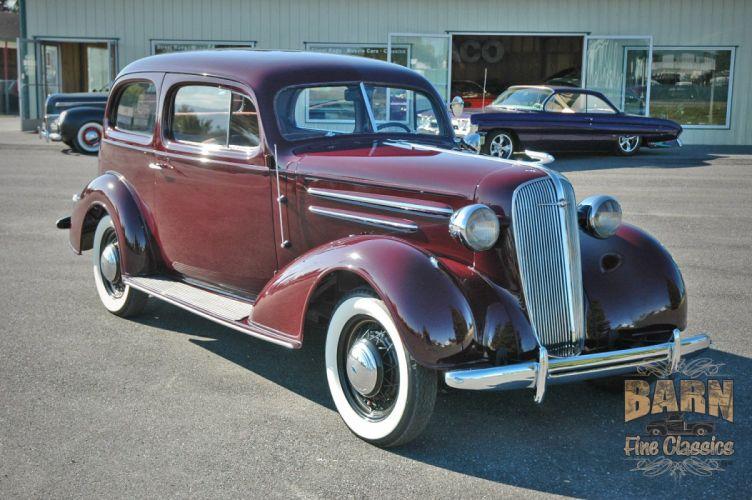 1936 Chevrolet Sedan 2 Door Classic Old Retro Vintage Blue USA 1500x1000-06 wallpaper