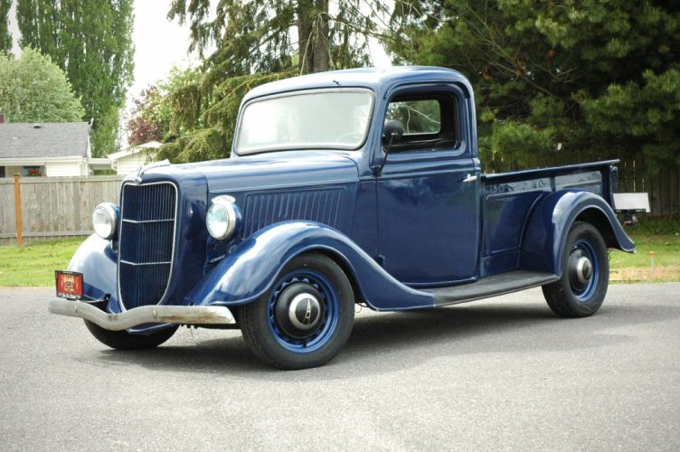 1936 Ford Pickup Classic Old Retro Vintage Blue USA 1500x1000-02 wallpaper