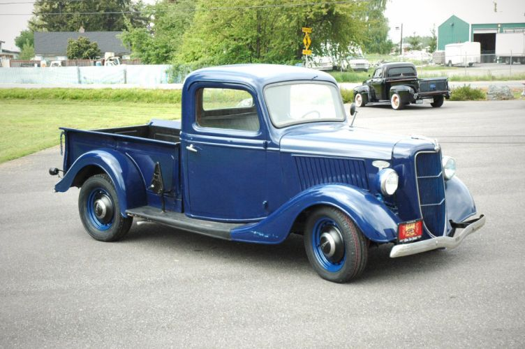 1936 Ford Pickup Classic Old Retro Vintage Blue USA 1500x1000-08 wallpaper
