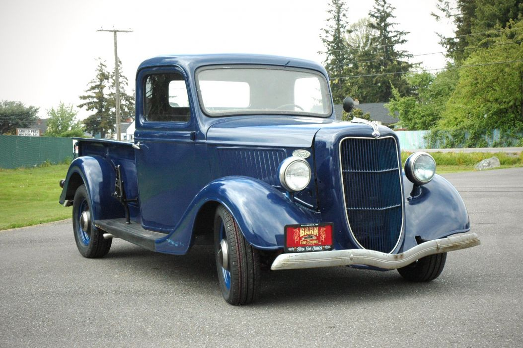 1936 Ford Pickup Classic Old Retro Vintage Blue USA 1500x1000-09 wallpaper