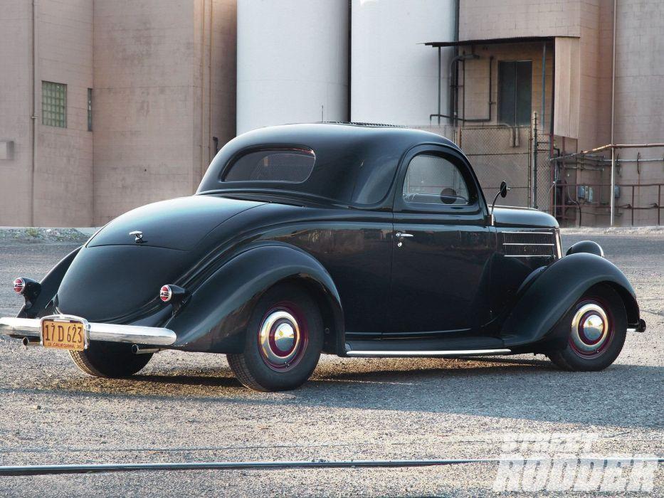 1936 Ford Coupe 3 Window Hotrod Hot Rod Custom Old School Black USA 1600x1200-02 wallpaper