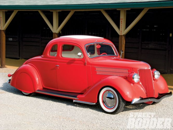 1936 Ford Coupe 5 Window Hotrod Hot Rod Custom Old School Custom Low Red USA 1600x1200-01 wallpaper