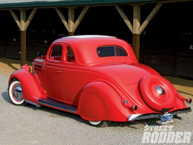 1936 Ford Coupe 5 Window Hotrod Hot Rod Custom Old School Custom Low Red USA 1600x1200-02 wallpaper