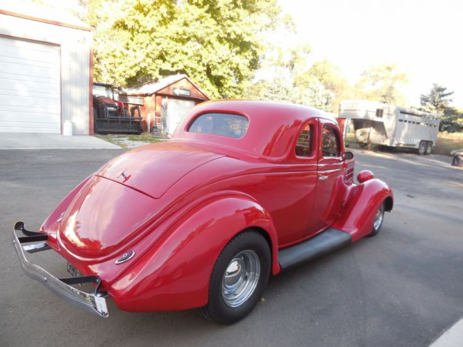 1936 Ford Coupe 5 Window Hotrod Hot Rod Custom Old School Red USA 3000x2250-03 wallpaper