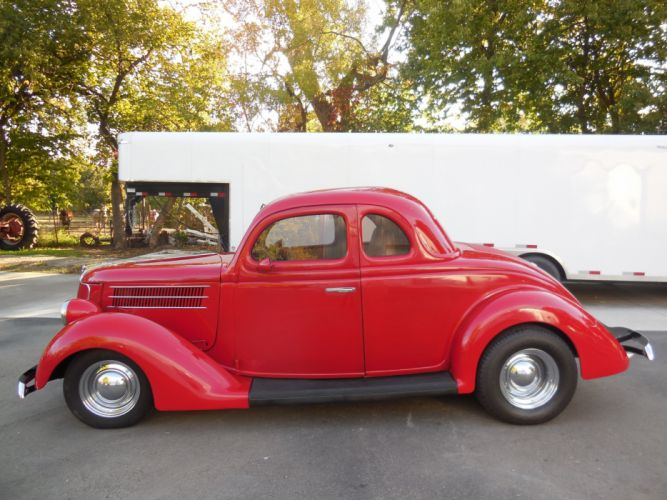 1936 Ford Coupe 5 Window Hotrod Hot Rod Custom Old School Red USA 3000x2250-02 wallpaper