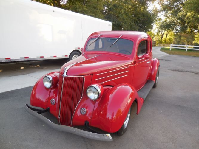 1936 Ford Coupe 5 Window Hotrod Hot Rod Custom Old School Red USA 3000x2250-04 wallpaper