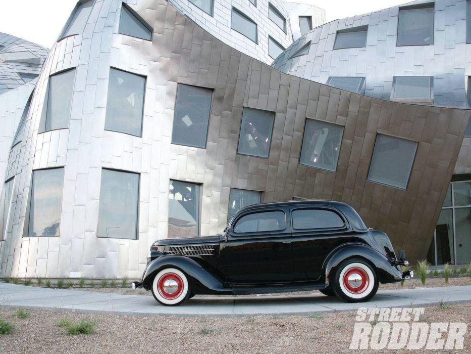 1936 Ford Sedan 2 Door Hotrod Hot Rod Custom Old School Black USA 1600x1200-01 wallpaper