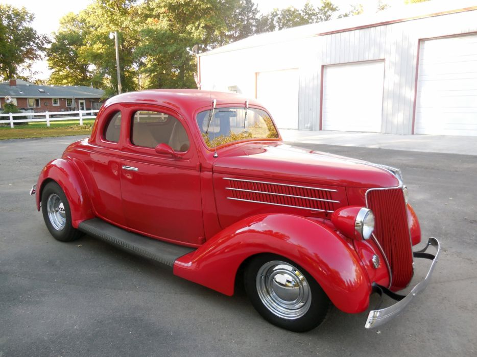 1936 Ford Coupe 5 Window Hotrod Hot Rod Custom Old School Red USA 3000x2250-01 wallpaper