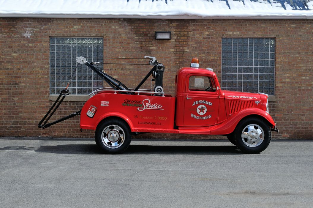 1936 Ford Truck Model 51 Wrecker Red Classic Old Retro Vintage USA 4200x2790-02 wallpaper