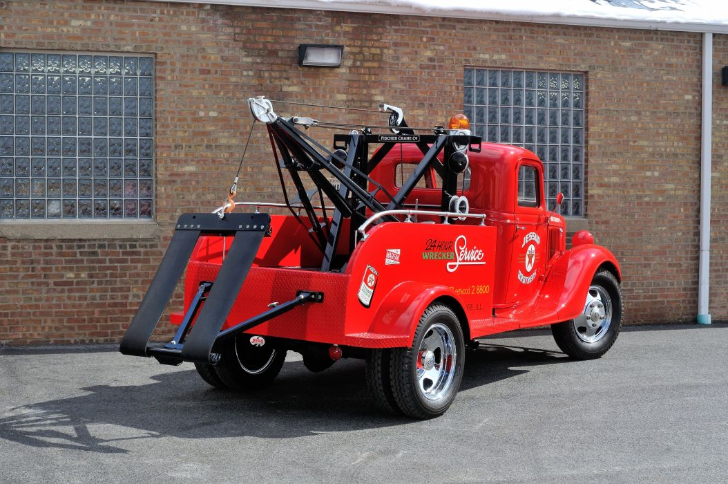 1936 Ford Truck Model 51 Wrecker Red Classic Old Retro Vintage USA 4200x2790-03 wallpaper