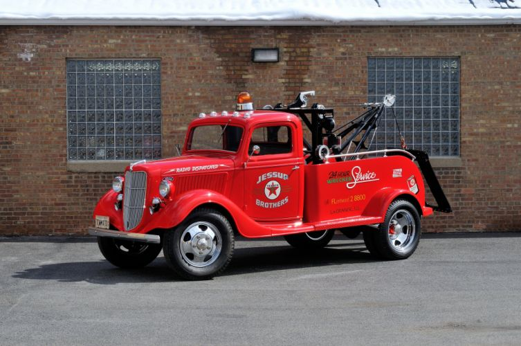 1936 Ford Truck Model 51 Wrecker Red Classic Old Retro Vintage USA 4200x2790-01 wallpaper