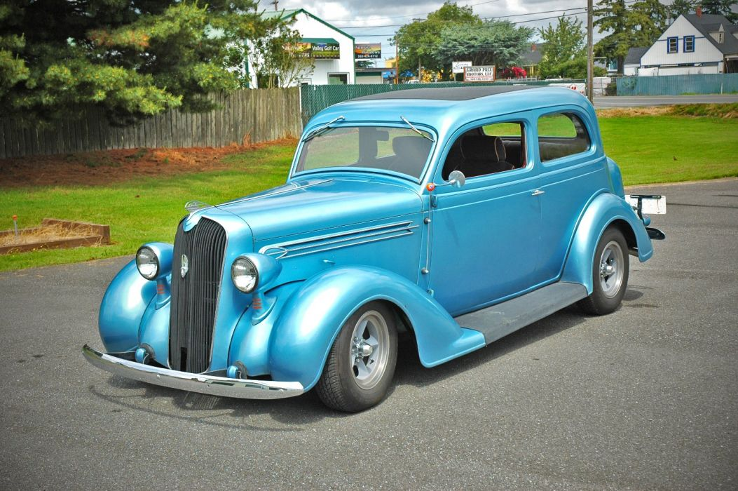 1936 Plymouth Sedan 2 Door Humpback Hotrod Streetrosd Hot Rod Street Blue USA 1500x1000-01 wallpaper