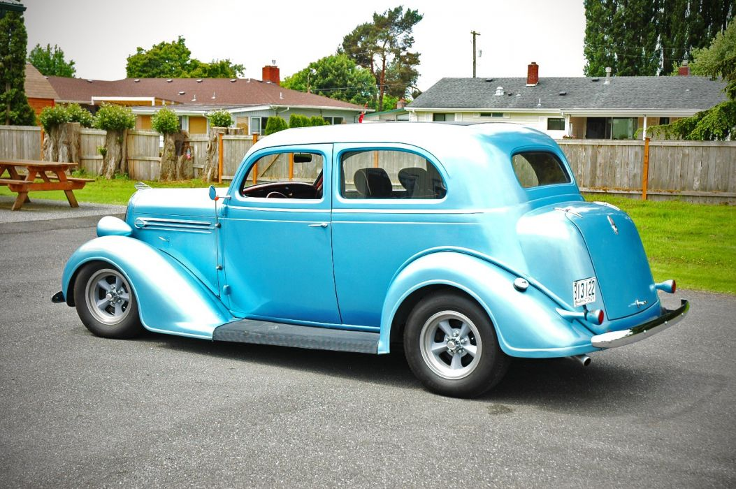 1936 Plymouth Sedan 2 Door Humpback Hotrod Streetrosd Hot Rod Street Blue USA 1500x1000-09 wallpaper