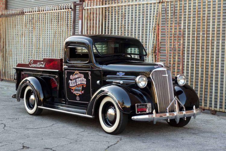 1937 Chevrolet Chevy Pickup Hotrod Hot Rod Custom Old School Black USA 2500x1667-01 wallpaper