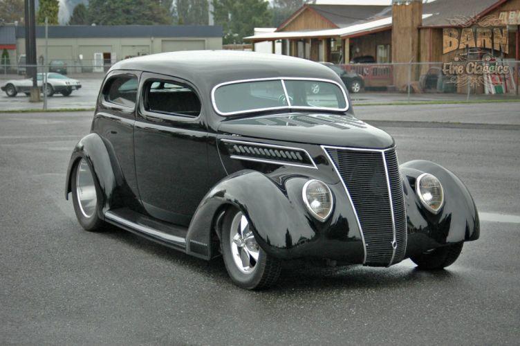 1937 Ford Sedan 2 Door Slantback Hotrod Streetrod Hot Rod Street Black USA 1500x1000-10 wallpaper