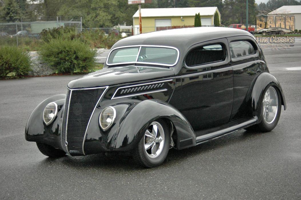 1937 Ford Sedan 2 Door Slantback Hotrod Streetrod Hot Rod Street Black USA 1500x1000-11 wallpaper