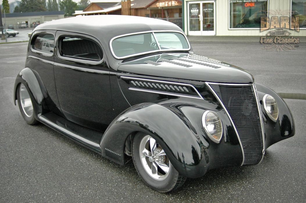 1937 Ford Sedan 2 Door Slantback Hotrod Streetrod Hot Rod Street Black USA 1500x1000-13 wallpaper