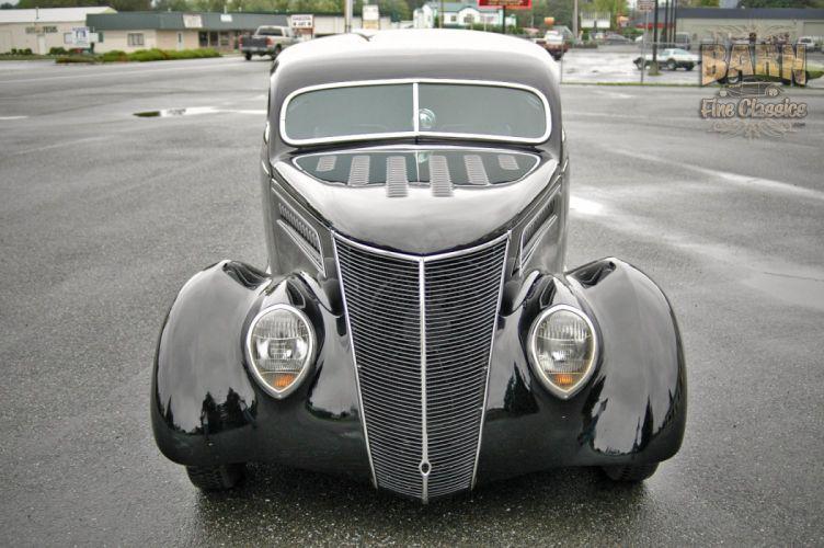 1937 Ford Sedan 2 Door Slantback Hotrod Streetrod Hot Rod Street Black USA 1500x1000-16 wallpaper