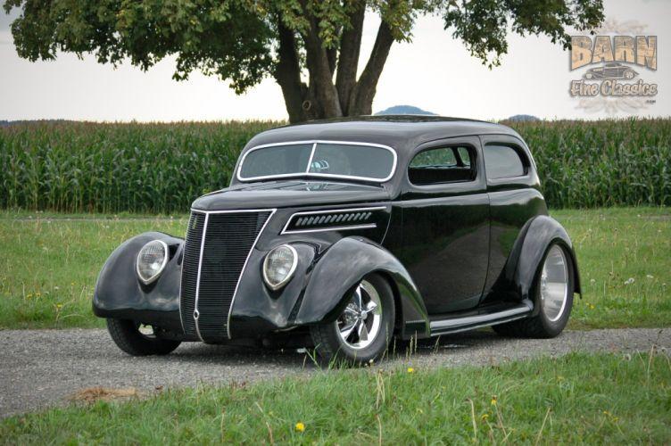 1937 Ford Sedan 2 Door Slantback Hotrod Streetrod Hot Rod Street Black USA 1500x1000-18 wallpaper