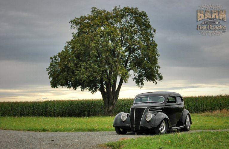 1937 Ford Sedan 2 Door Slantback Hotrod Streetrod Hot Rod Street Black USA 1500x1000-17 wallpaper
