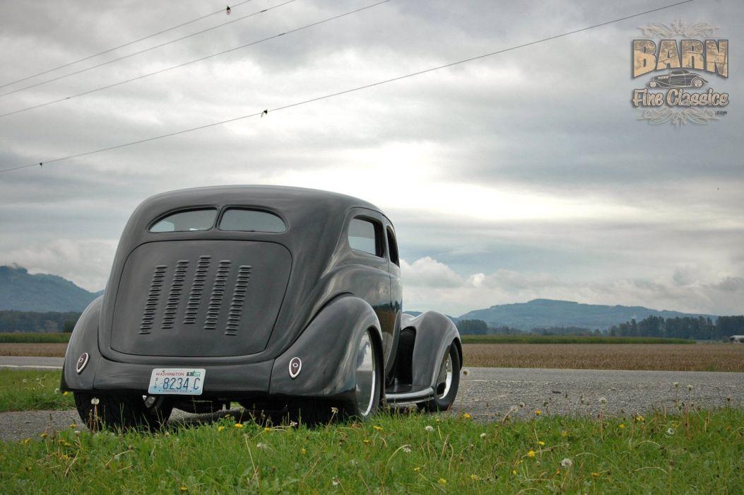 1937 Ford Sedan 2 Door Slantback Hotrod Streetrod Hot Rod Street Black USA 1500x1000-24 wallpaper