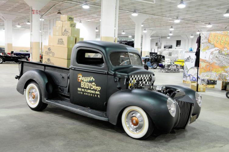 1939 Ford Pickup Hotrod Hot Rod Custom Old School Black USA 2048x1360-01 wallpaper