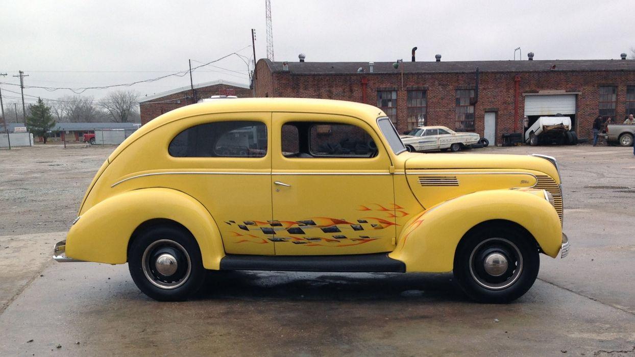 1939 Ford Tudor Sedan Two Door Hotrod Hot Rod Custom Old School USA 2048x1150-02 wallpaper