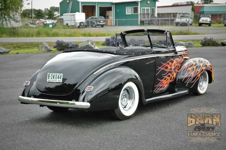 1940 Ford Deluxe Convertible Hotrod Hot Rod Custom Old School Flamed Black USA 1500x1000-02 wallpaper