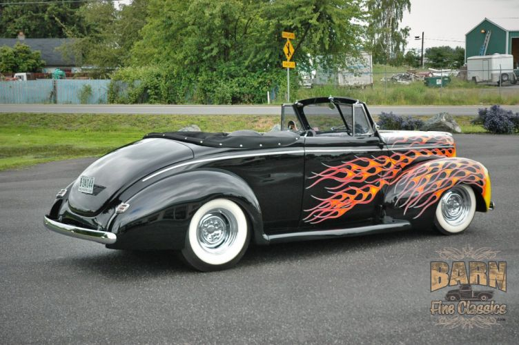 1940 Ford Deluxe Convertible Hotrod Hot Rod Custom Old School Flamed Black USA 1500x1000-03 wallpaper