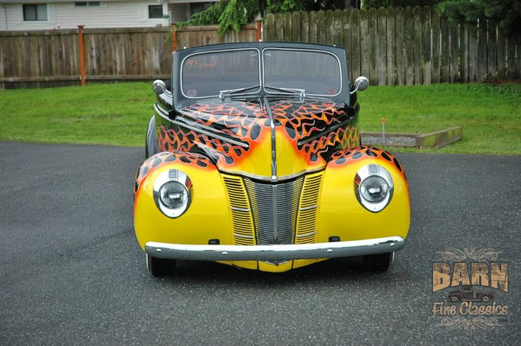 1940 Ford Deluxe Convertible Hotrod Hot Rod Custom Old School Flamed Black USA 1500x1000-07 wallpaper