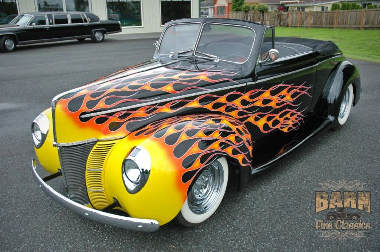 1940 Ford Deluxe Convertible Hotrod Hot Rod Custom Old School Flamed Black USA 1500x1000-10 wallpaper