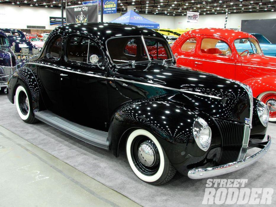 1940 Ford Coupe Black Hotrod Hot Rod Custom Old School USA 1600x1200-01 wallpaper