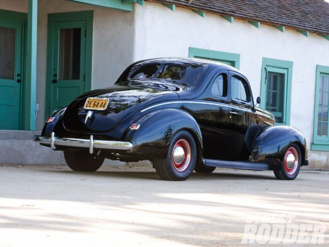 1940 Ford Deluxe Coupe Black Hotrod Hot Rod Custom Old School USA 1600x1200-02 wallpaper