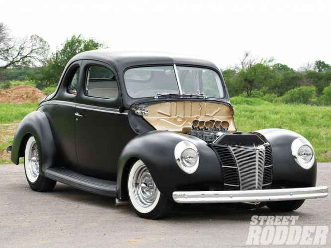 1940 Ford Deluxe Coupe Black Hotrod Hot Rod Custom Old School USA 1600x1200-05 wallpaper