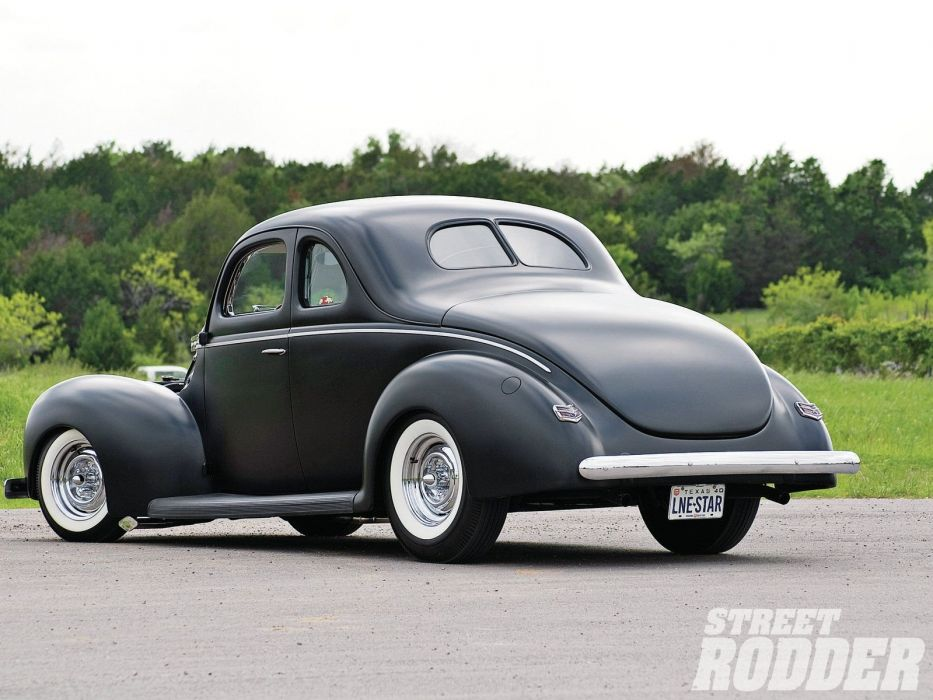 1940 Ford Deluxe Coupe Black Hotrod Hot Rod Custom Old School USA 1600x1200-06 wallpaper